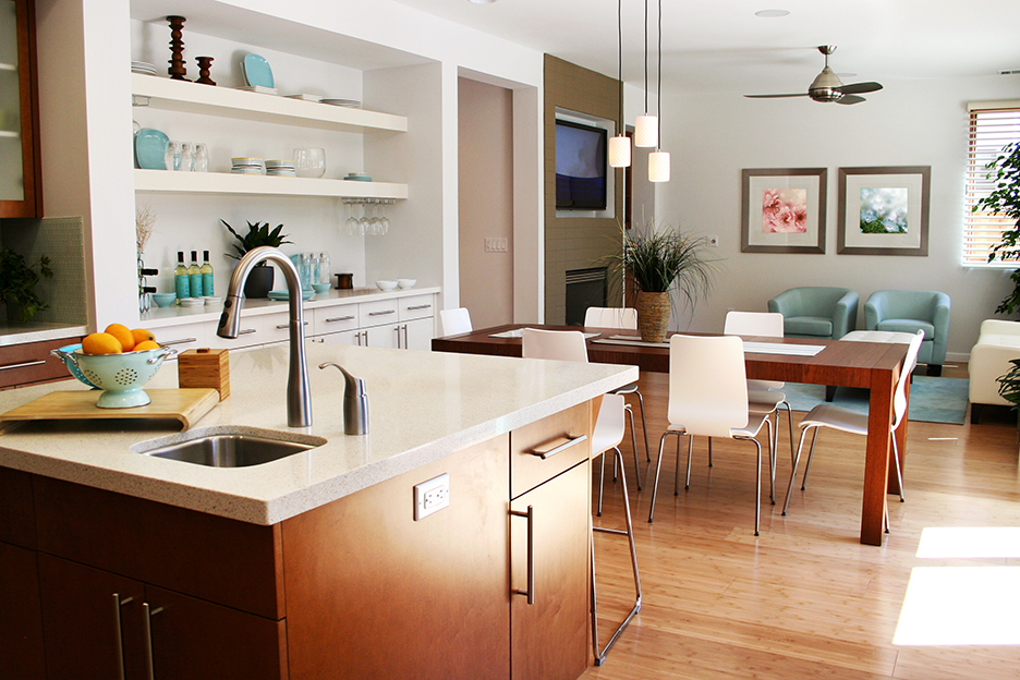 Beautiful, sunny modern kitchen, sitting and dining room