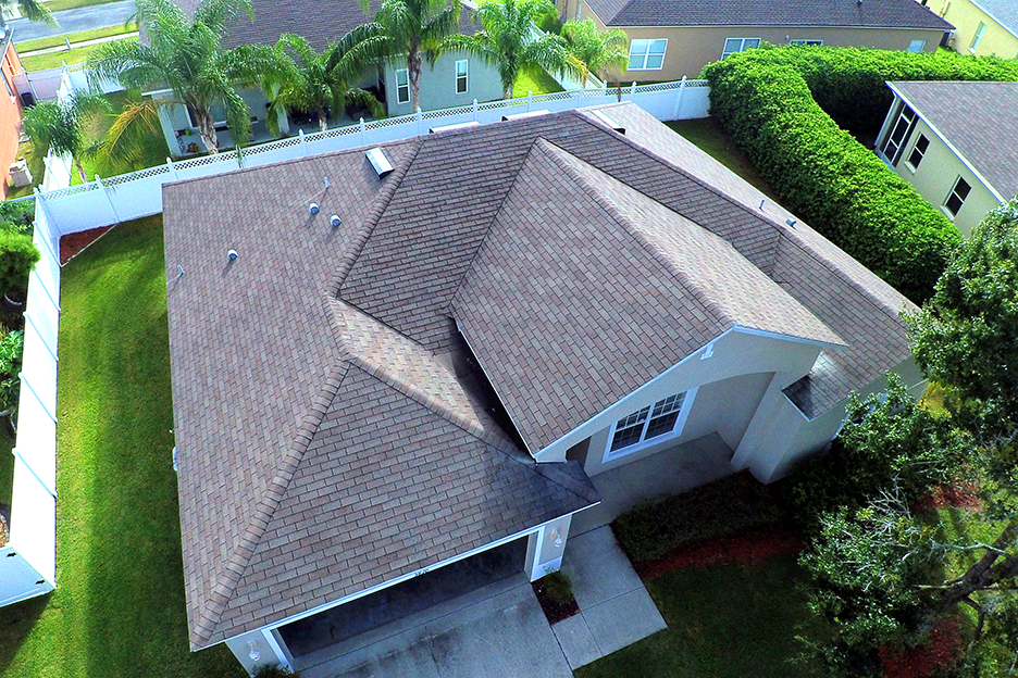 Aerial drone photo of the roof of a house.